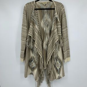 One world women's cardigan draped open front Aztec